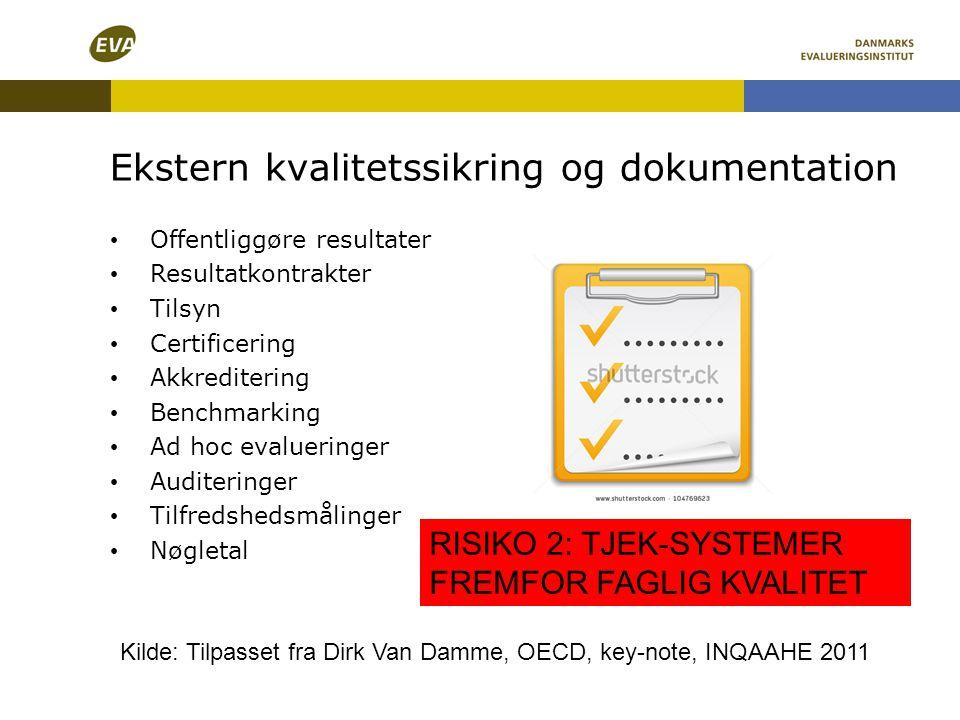 Ekstern kvalitetssikring og dokumentation RISIKO 2: TJEK-SYSTEMER FREMFOR FAGLIG KVALITET • Offentliggøre resultater • Resultatkontrakter • Tilsyn • C