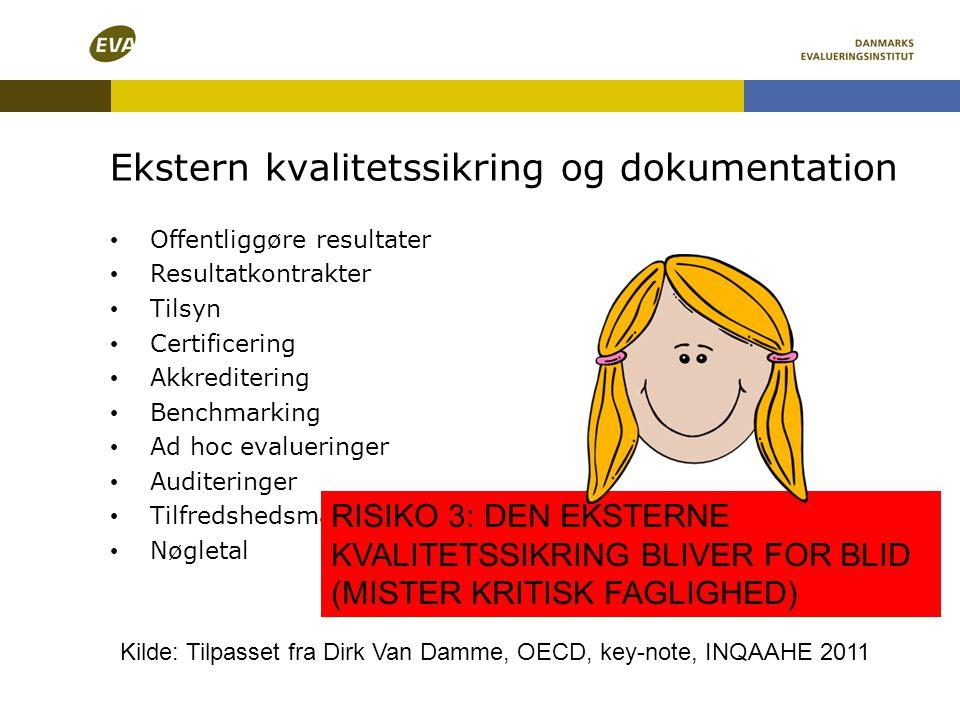 • Offentliggøre resultater • Resultatkontrakter • Tilsyn • Certificering • Akkreditering • Benchmarking • Ad hoc evalueringer • Auditeringer • Tilfred