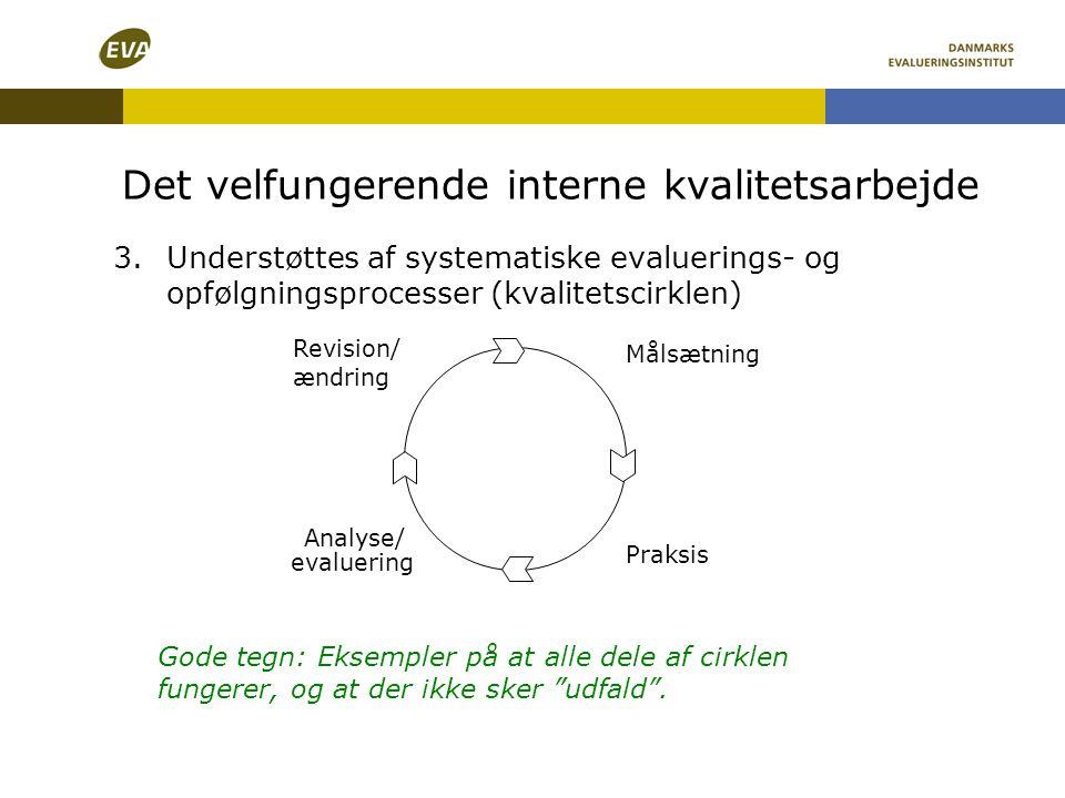 Det velfungerende interne kvalitetsarbejde 3.Understøttes af systematiske evaluerings- og opfølgningsprocesser (kvalitetscirklen) Målsætning Praksis A