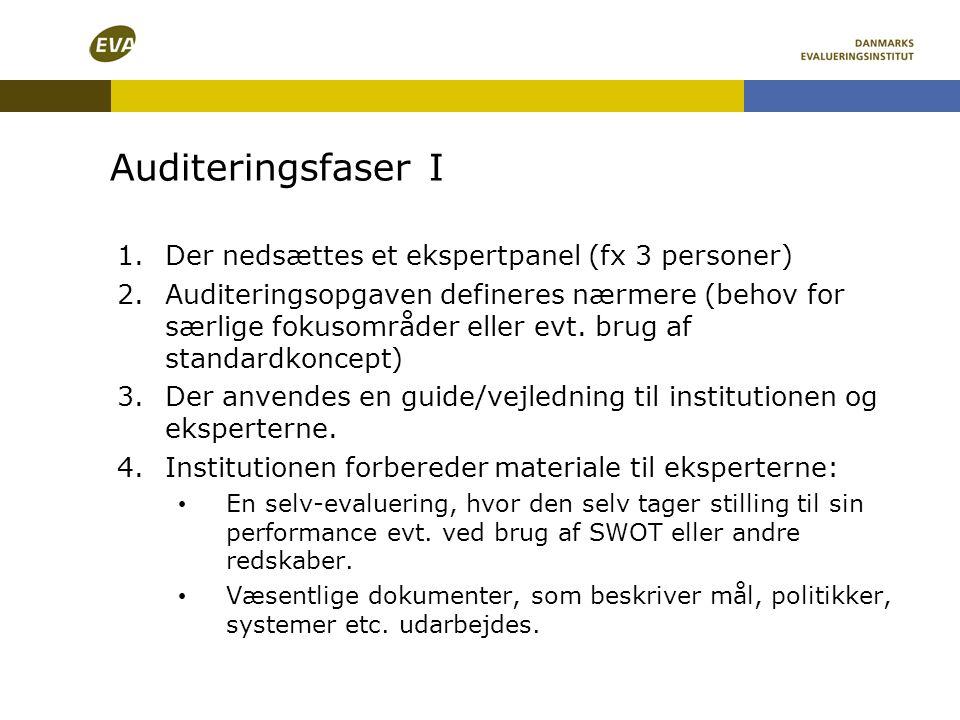 Auditeringsfaser I 1.Der nedsættes et ekspertpanel (fx 3 personer) 2.Auditeringsopgaven defineres nærmere (behov for særlige fokusområder eller evt. b