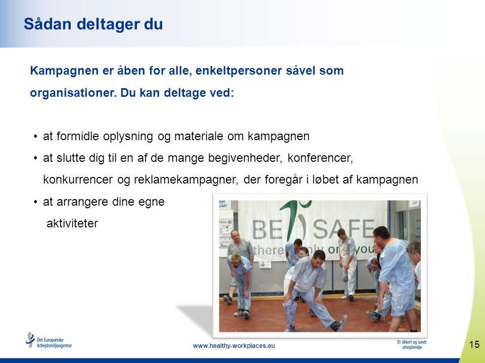 15 www.healthy-workplaces.eu Sådan deltager du Kampagnen er åben for alle, enkeltpersoner såvel som organisationer. Du kan deltage ved: •at formidle o