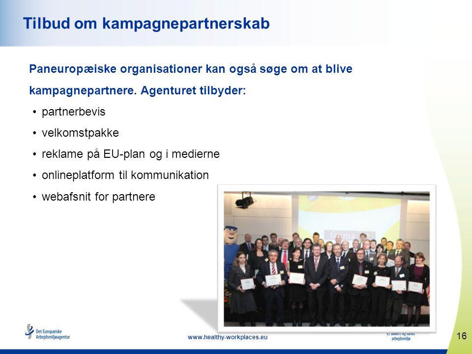 16 www.healthy-workplaces.eu Tilbud om kampagnepartnerskab Paneuropæiske organisationer kan også søge om at blive kampagnepartnere. Agenturet tilbyder