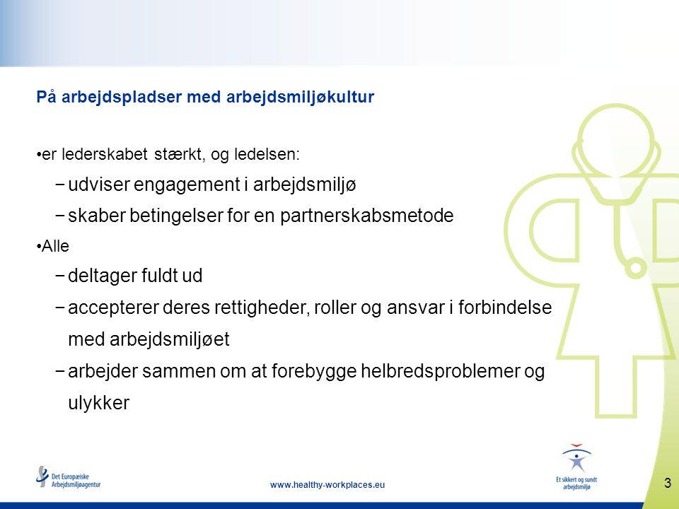 3 www.healthy-workplaces.eu På arbejdspladser med arbejdsmiljøkultur •er lederskabet stærkt, og ledelsen: −udviser engagement i arbejdsmiljø −skaber b