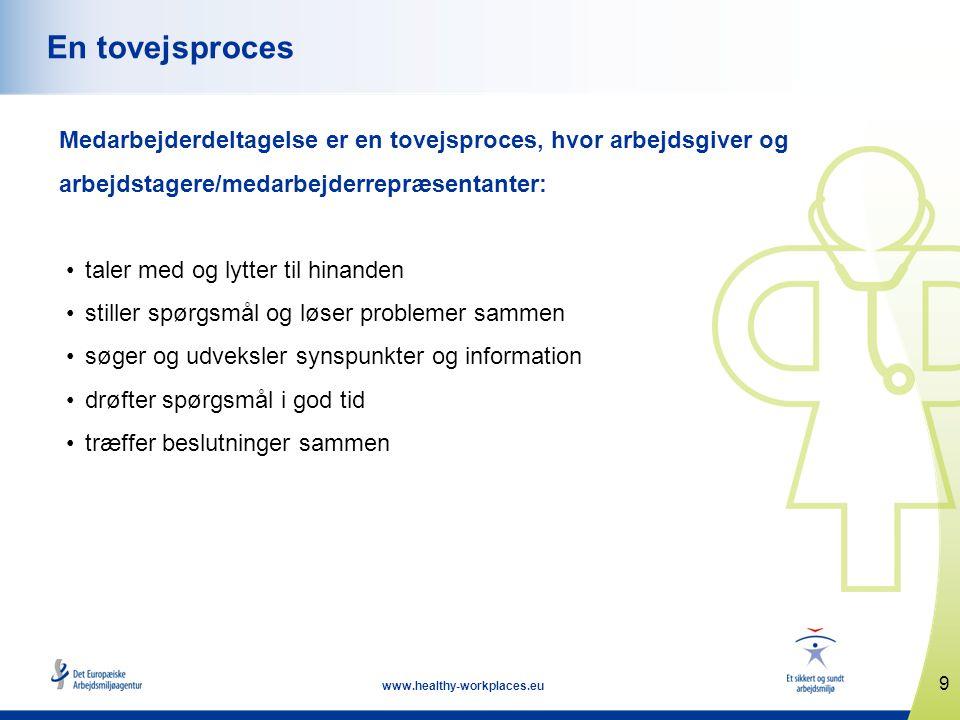 9 www.healthy-workplaces.eu En tovejsproces Medarbejderdeltagelse er en tovejsproces, hvor arbejdsgiver og arbejdstagere/medarbejderrepræsentanter: •t