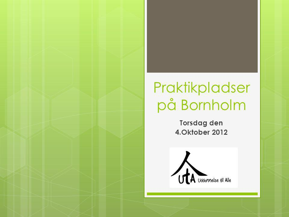 Praktikpladser på Bornholm Torsdag den 4.Oktober 2012