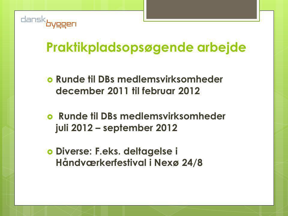 Praktikpladsopsøgende arbejde  Runde til DBs medlemsvirksomheder december 2011 til februar 2012  Runde til DBs medlemsvirksomheder juli 2012 – september 2012  Diverse: F.eks.
