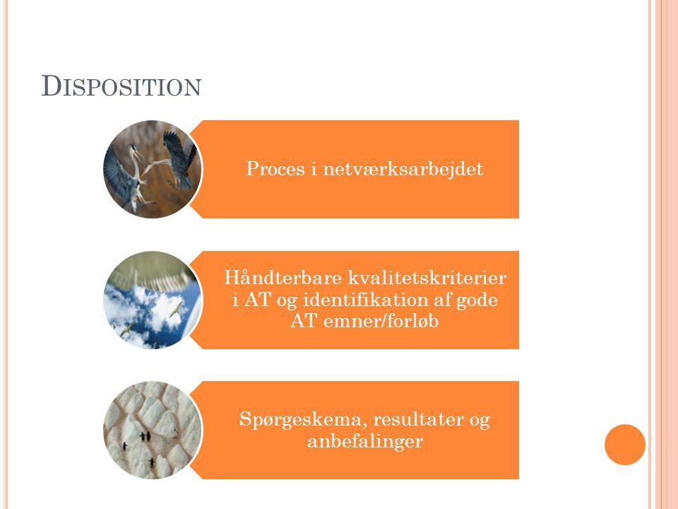 D ISPOSITION Proces i netværksarbejdet Håndterbare kvalitetskriterier i AT og identifikation af gode AT emner/forløb Spørgeskema, resultater og anbefalinger