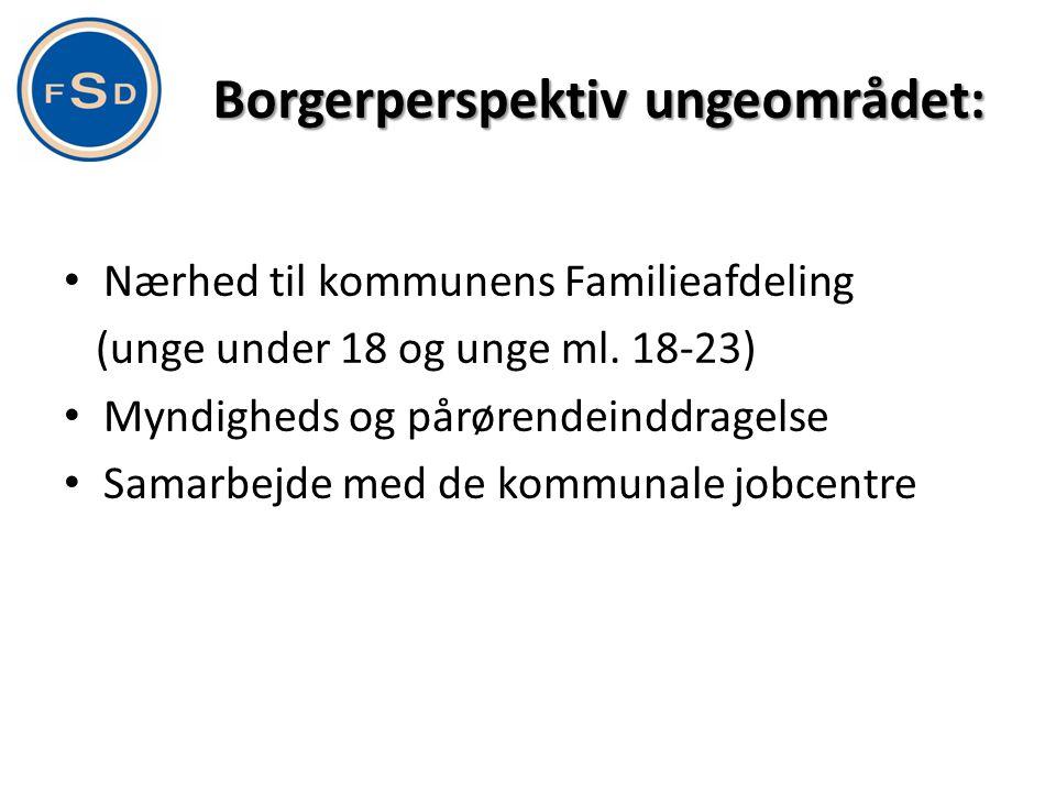 Borgerperspektiv ungeområdet: • Nærhed til kommunens Familieafdeling (unge under 18 og unge ml. 18-23) • Myndigheds og pårørendeinddragelse • Samarbej