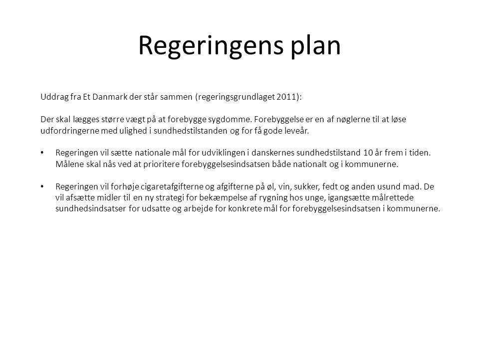 Regeringens plan Uddrag fra Et Danmark der står sammen (regeringsgrundlaget 2011): Der skal lægges større vægt på at forebygge sygdomme. Forebyggelse