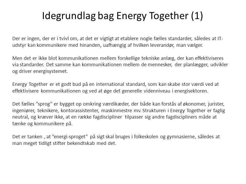 Idegrundlag bag Energy Together (1) Der er ingen, der er i tvivl om, at det er vigtigt at etablere nogle fælles standarder, således at IT- udstyr kan kommunikere med hinanden, uafhængig af hvilken leverandør, man vælger.