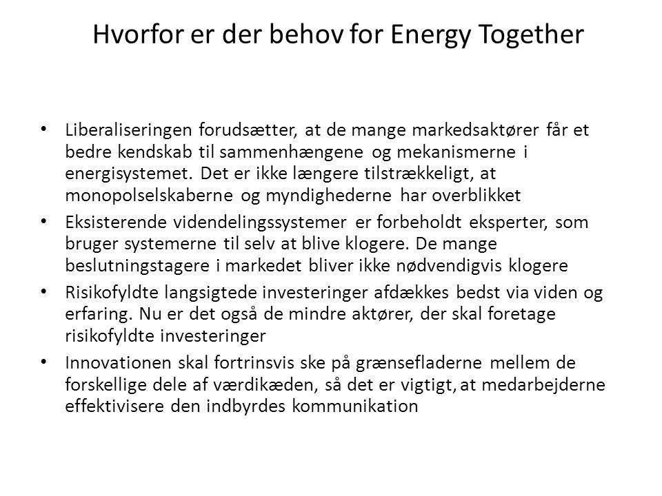 Hvorfor er der behov for Energy Together • Liberaliseringen forudsætter, at de mange markedsaktører får et bedre kendskab til sammenhængene og mekanismerne i energisystemet.