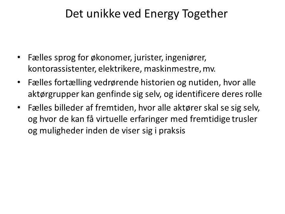 Det unikke ved Energy Together • Fælles sprog for økonomer, jurister, ingeniører, kontorassistenter, elektrikere, maskinmestre, mv.