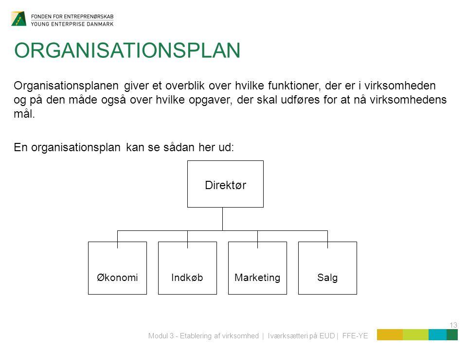 13 Modul 3 - Etablering af virksomhed | Iværksætteri på EUD | FFE-YE ORGANISATIONSPLAN Organisationsplanen giver et overblik over hvilke funktioner, der er i virksomheden og på den måde også over hvilke opgaver, der skal udføres for at nå virksomhedens mål.