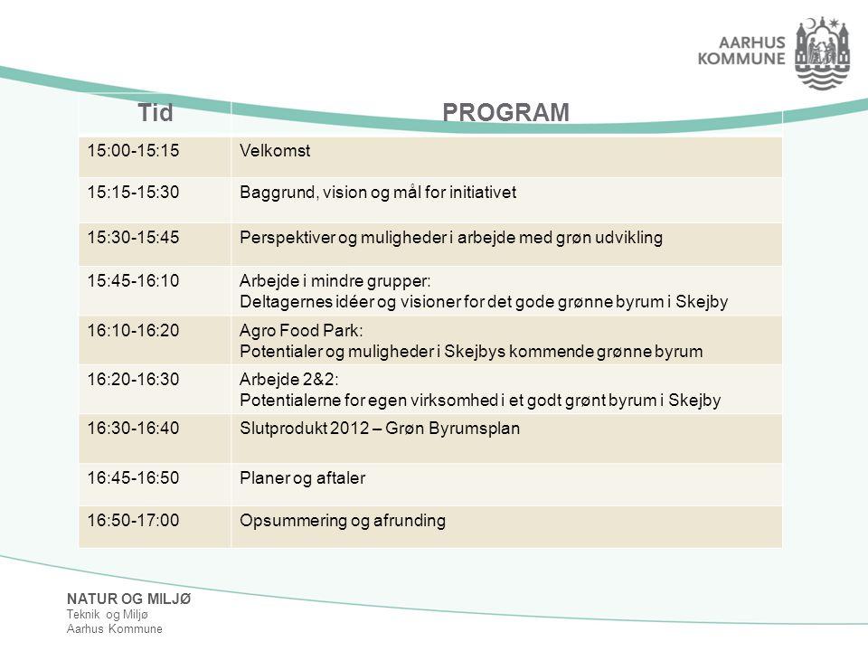 NATUR OG MILJØ Teknik og Miljø Aarhus Kommune TidPROGRAM 15:00-15:15Velkomst 15:15-15:30Baggrund, vision og mål for initiativet 15:30-15:45Perspektiver og muligheder i arbejde med grøn udvikling 15:45-16:10Arbejde i mindre grupper: Deltagernes idéer og visioner for det gode grønne byrum i Skejby 16:10-16:20Agro Food Park: Potentialer og muligheder i Skejbys kommende grønne byrum 16:20-16:30Arbejde 2&2: Potentialerne for egen virksomhed i et godt grønt byrum i Skejby 16:30-16:40Slutprodukt 2012 – Grøn Byrumsplan 16:45-16:50Planer og aftaler 16:50-17:00Opsummering og afrunding