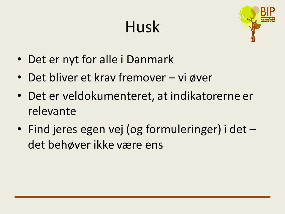 Husk • Det er nyt for alle i Danmark • Det bliver et krav fremover – vi øver • Det er veldokumenteret, at indikatorerne er relevante • Find jeres egen vej (og formuleringer) i det – det behøver ikke være ens