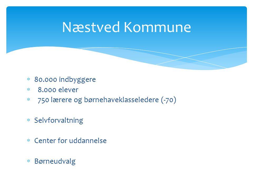  80.000 indbyggere  8.000 elever  750 lærere og børnehaveklasseledere (-70)  Selvforvaltning  Center for uddannelse  Børneudvalg Næstved Kommune