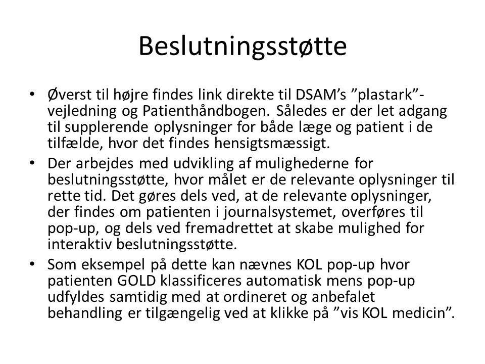 Beslutningsstøtte • Øverst til højre findes link direkte til DSAM's plastark - vejledning og Patienthåndbogen.