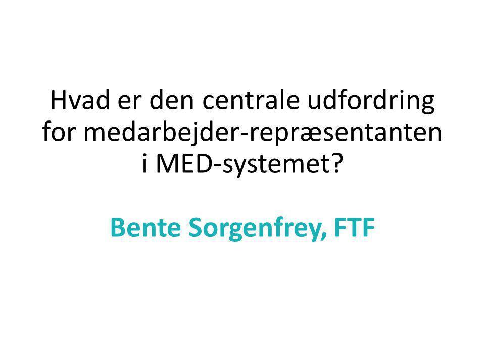 Hvad er den centrale udfordring for medarbejder-repræsentanten i MED-systemet.