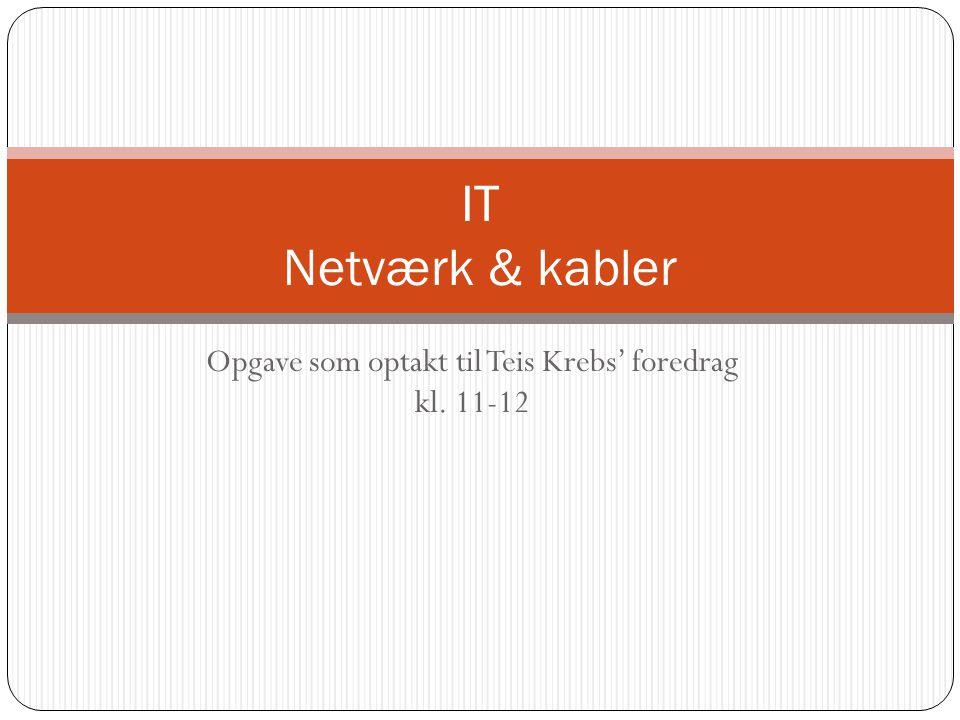 Opgave som optakt til Teis Krebs' foredrag kl. 11-12 IT Netværk & kabler