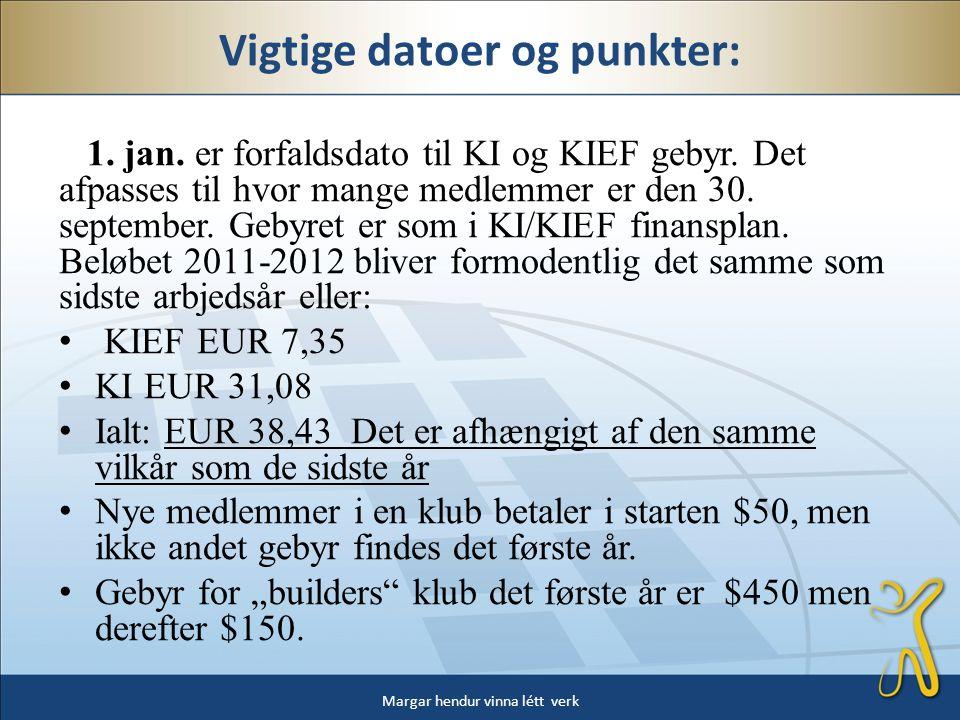 • KI og KIEF sender en regning p.g.a.det internationale gebyr til klubbernes kasserere.