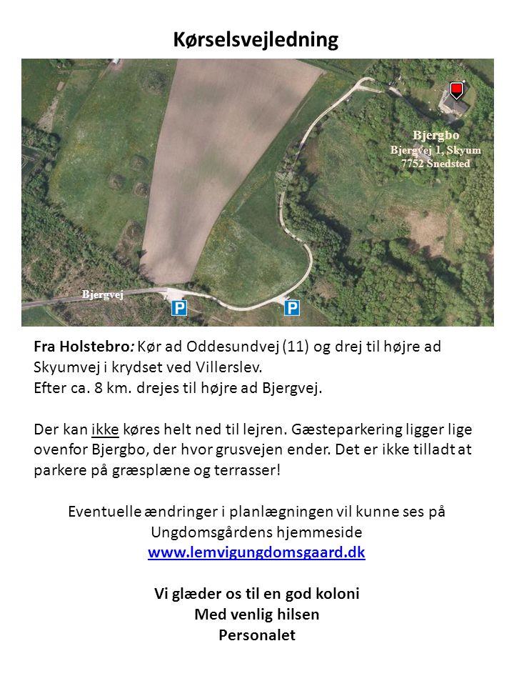 Bjergvej Bjergbo Bjergvej 1, Skyum 7752 Snedsted Fra Holstebro: Kør ad Oddesundvej (11) og drej til højre ad Skyumvej i krydset ved Villerslev. Efter