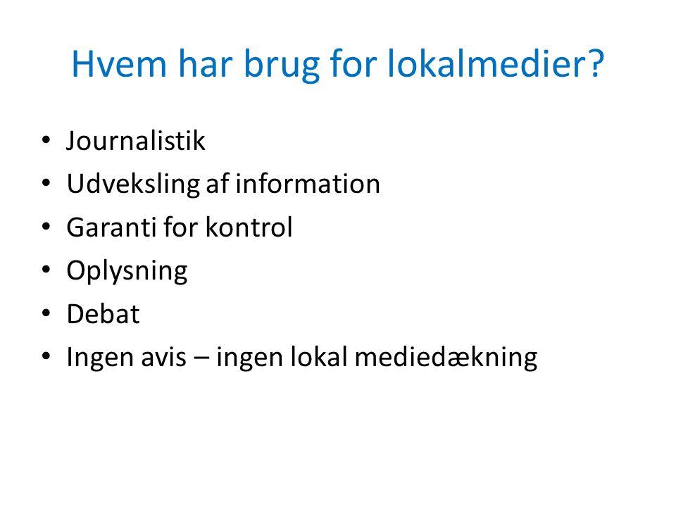 Hvem har brug for lokalmedier? • Journalistik • Udveksling af information • Garanti for kontrol • Oplysning • Debat • Ingen avis – ingen lokal mediedæ