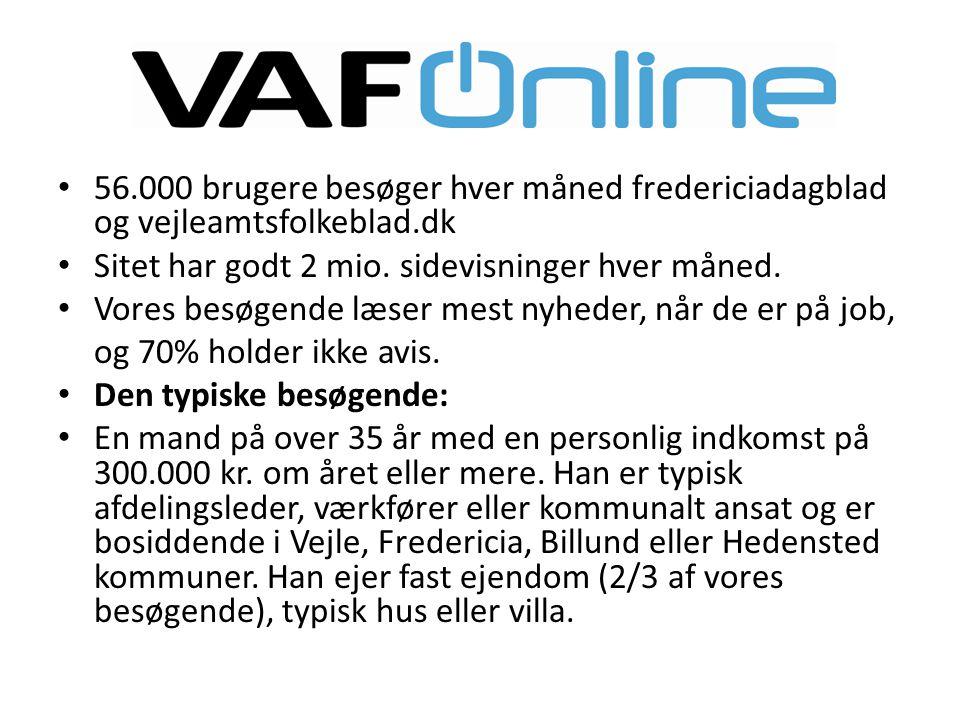 • 56.000 brugere besøger hver måned fredericiadagblad og vejleamtsfolkeblad.dk • Sitet har godt 2 mio.
