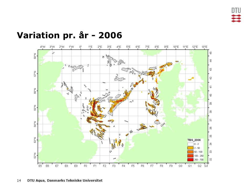 14DTU Aqua, Danmarks Tekniske Universitet Variation pr. år - 2006