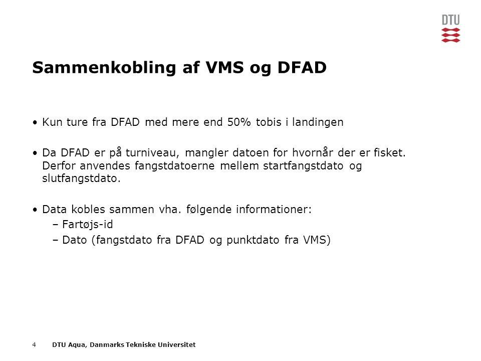 4DTU Aqua, Danmarks Tekniske Universitet Sammenkobling af VMS og DFAD •Kun ture fra DFAD med mere end 50% tobis i landingen •Da DFAD er på turniveau, mangler datoen for hvornår der er fisket.