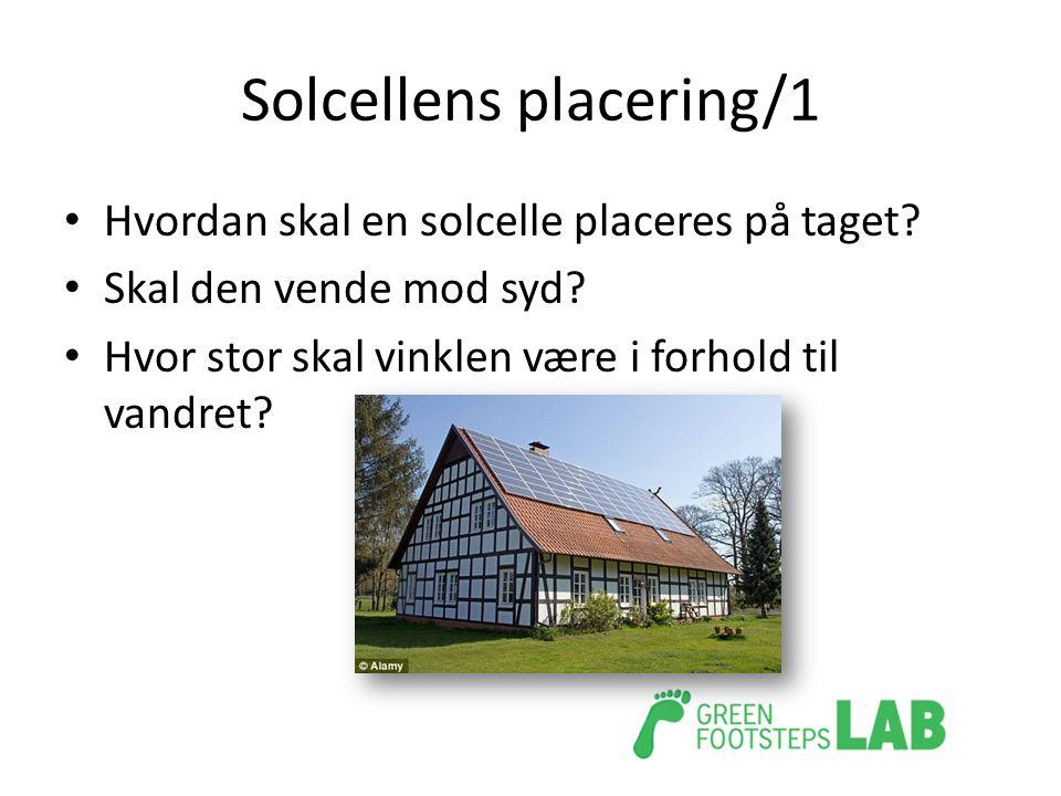 Solcellens placering/1 • Hvordan skal en solcelle placeres på taget? • Skal den vende mod syd? • Hvor stor skal vinklen være i forhold til vandret?