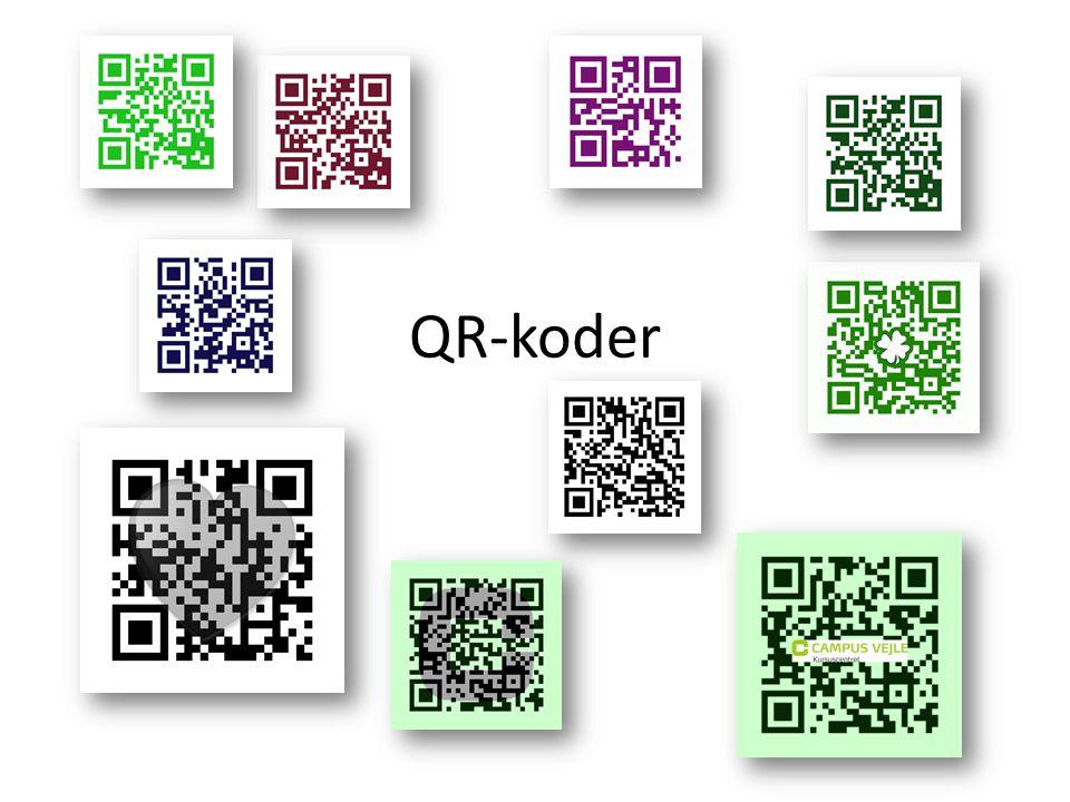 • En QR kode er en lille kvadratisk kode, der med en mobiltelefon bl.a.