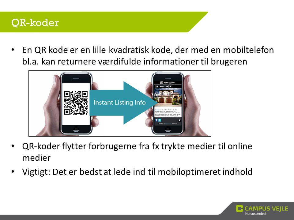 • En QR kode er en lille kvadratisk kode, der med en mobiltelefon bl.a. kan returnere værdifulde informationer til brugeren • QR-koder flytter forbrug