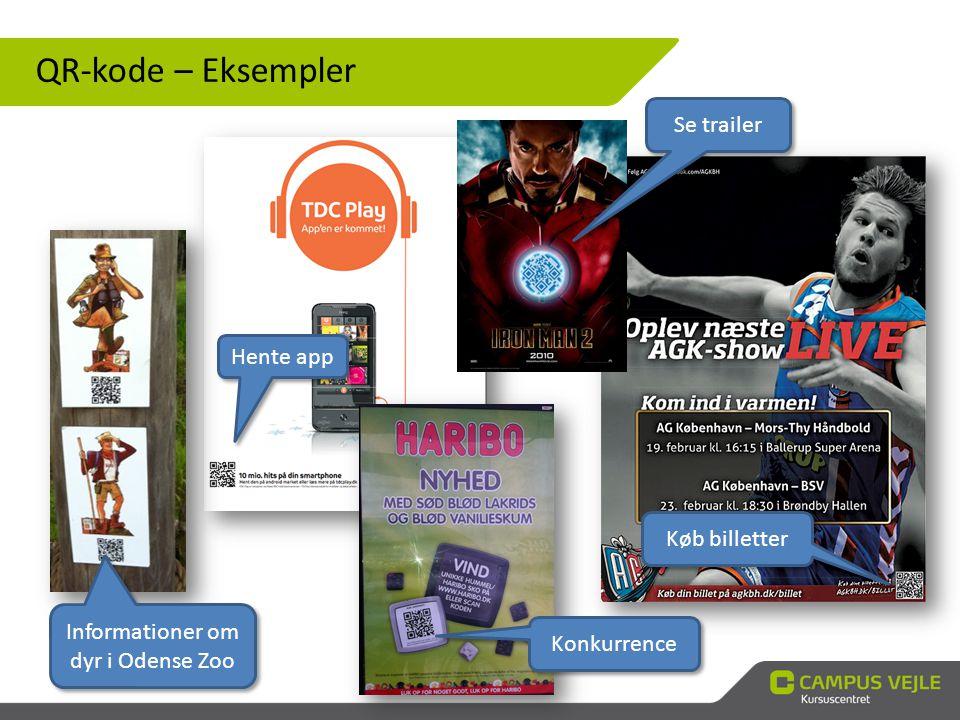 QR-kode – Eksempler Se trailer Konkurrence Informationer om dyr i Odense Zoo Køb billetter Hente app