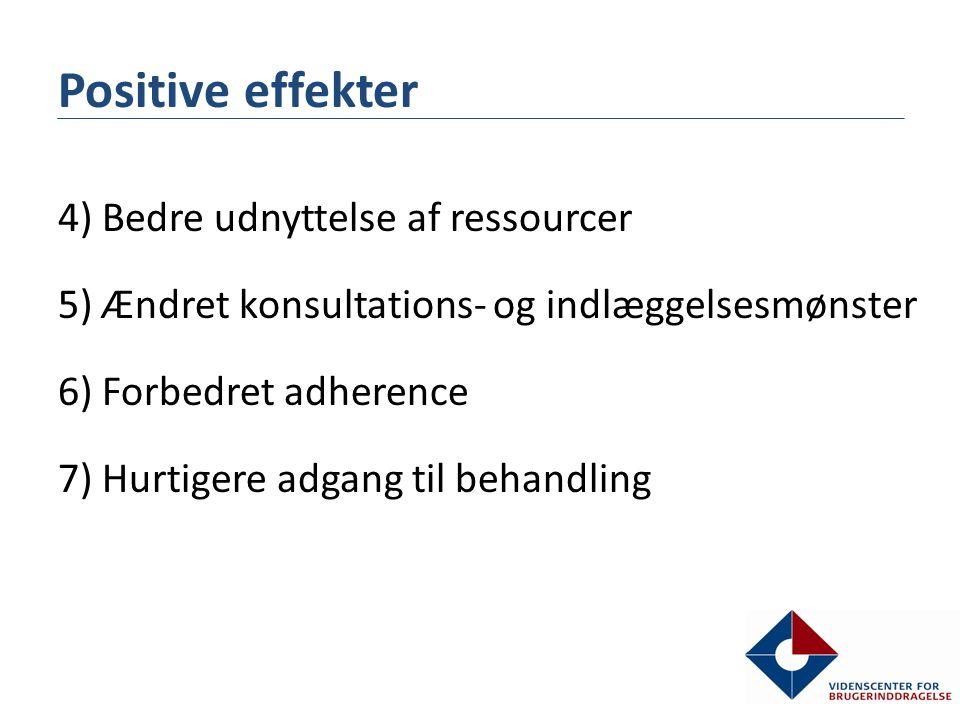 Positive effekter 4) Bedre udnyttelse af ressourcer 5) Ændret konsultations- og indlæggelsesmønster 6) Forbedret adherence 7) Hurtigere adgang til behandling