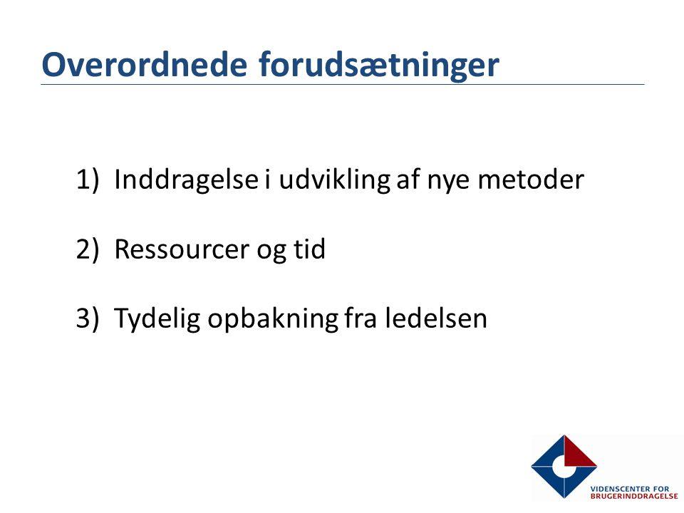 1)Inddragelse i udvikling af nye metoder 2)Ressourcer og tid 3)Tydelig opbakning fra ledelsen Overordnede forudsætninger