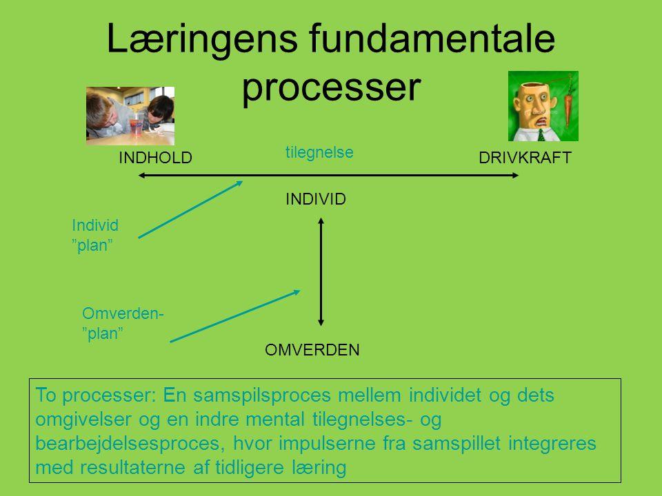 Læringens fundamentale processer INDIVID OMVERDEN INDHOLDDRIVKRAFT tilegnelse To processer: En samspilsproces mellem individet og dets omgivelser og en indre mental tilegnelses- og bearbejdelsesproces, hvor impulserne fra samspillet integreres med resultaterne af tidligere læring Omverden- plan Individ plan