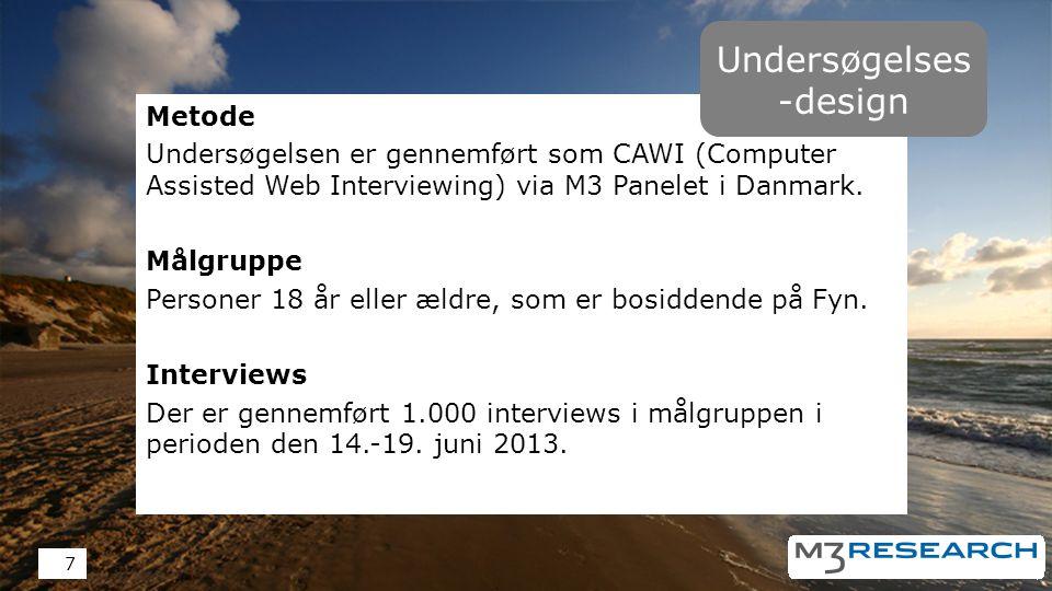 Metode Undersøgelsen er gennemført som CAWI (Computer Assisted Web Interviewing) via M3 Panelet i Danmark.