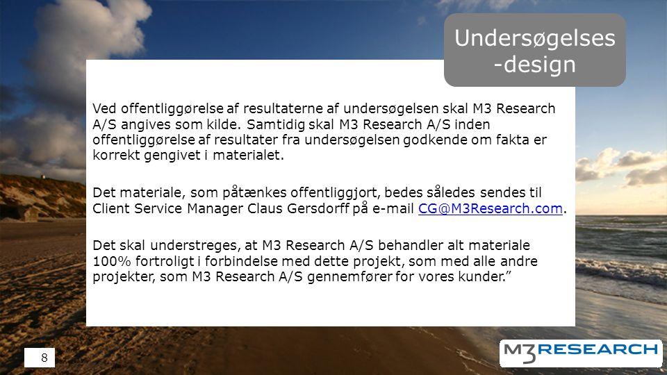 Ved offentliggørelse af resultaterne af undersøgelsen skal M3 Research A/S angives som kilde.