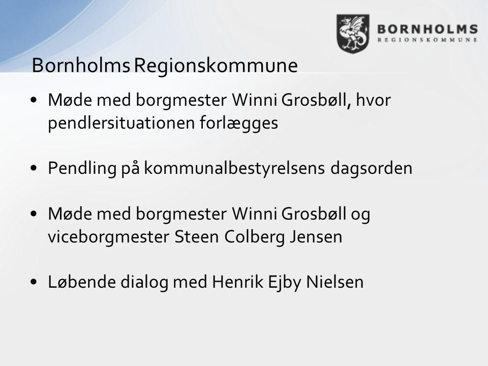 •Møde med borgmester Winni Grosbøll, hvor pendlersituationen forlægges •Pendling på kommunalbestyrelsens dagsorden •Møde med borgmester Winni Grosbøll