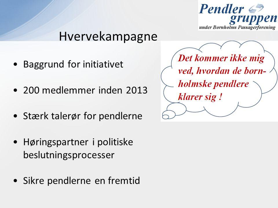 •Baggrund for initiativet •200 medlemmer inden 2013 •Stærk talerør for pendlerne •Høringspartner i politiske beslutningsprocesser •Sikre pendlerne en