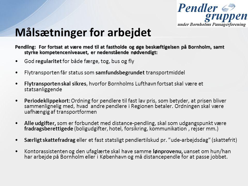 Pendling: For fortsat at være med til at fastholde og øge beskæftigelsen på Bornholm, samt styrke kompetenceniveauet, er nedenstående nødvendigt: •God