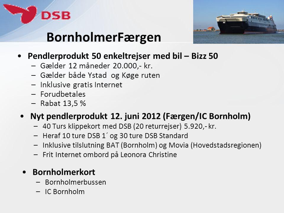 BornholmerFærgen •Pendlerprodukt 50 enkeltrejser med bil – Bizz 50 –Gælder 12 måneder 20.000,- kr. –Gælder både Ystad og Køge ruten –Inklusive gratis