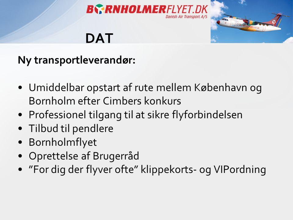 Ny transportleverandør: •Umiddelbar opstart af rute mellem København og Bornholm efter Cimbers konkurs •Professionel tilgang til at sikre flyforbindel
