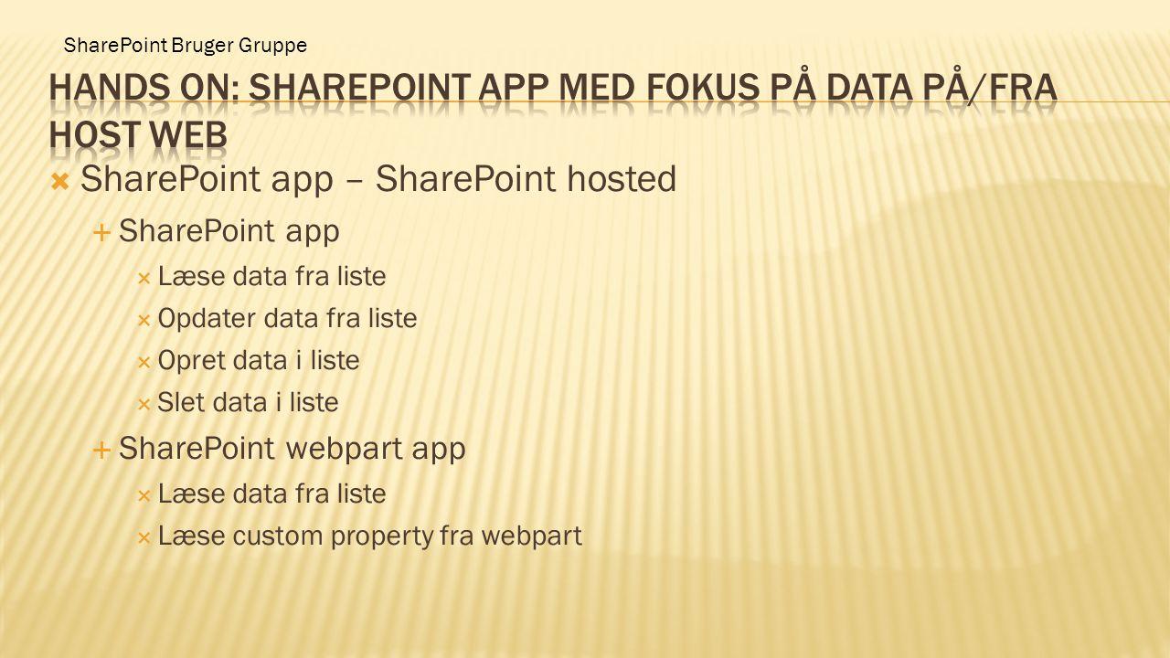  SharePoint app – SharePoint hosted  SharePoint app  Læse data fra liste  Opdater data fra liste  Opret data i liste  Slet data i liste  ShareP