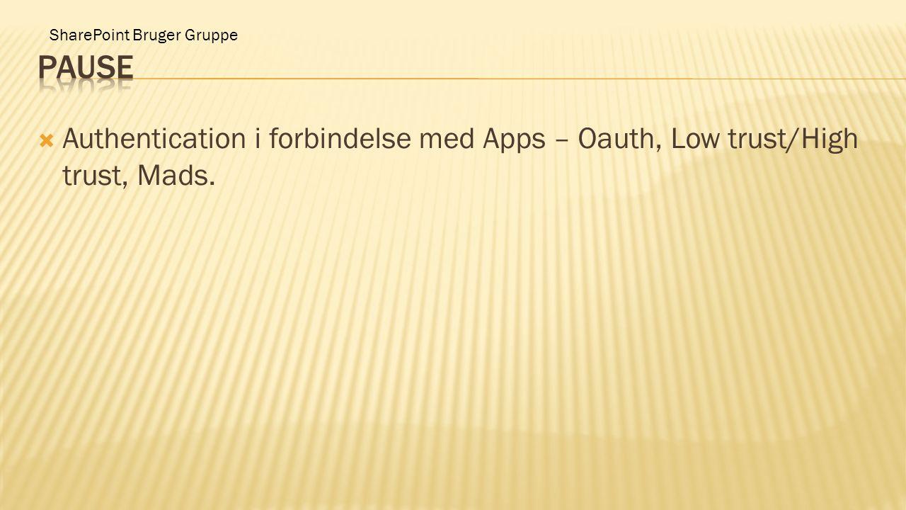 SharePoint Bruger Gruppe  Authentication i forbindelse med Apps – Oauth, Low trust/High trust, Mads.