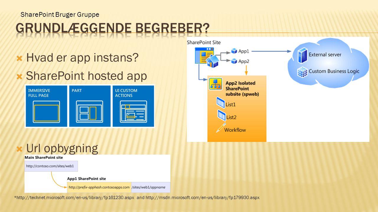 SharePoint Bruger Gruppe  Hvad er app instans?  SharePoint hosted app  Url opbygning *http://technet.microsoft.com/en-us/library/fp161230.aspx and