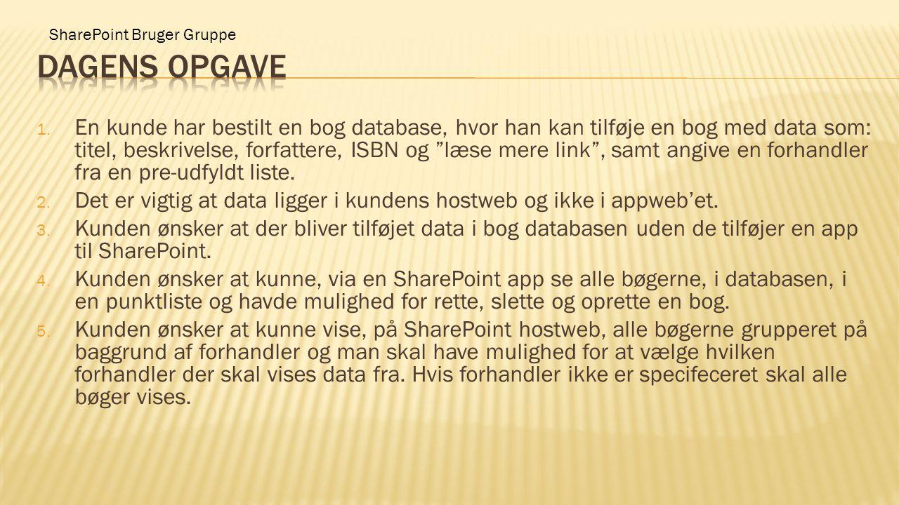"""SharePoint Bruger Gruppe 1. En kunde har bestilt en bog database, hvor han kan tilføje en bog med data som: titel, beskrivelse, forfattere, ISBN og """"l"""
