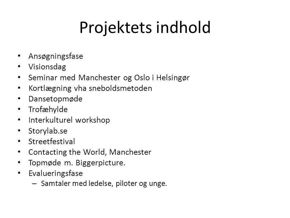 Projektets indhold • Ansøgningsfase • Visionsdag • Seminar med Manchester og Oslo i Helsingør • Kortlægning vha sneboldsmetoden • Dansetopmøde • Trofæ