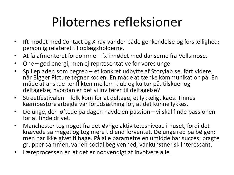 Piloternes refleksioner • Ift mødet med Contact og X-ray var der både genkendelse og forskellighed; personlig relateret til oplægsholderne. • At få af