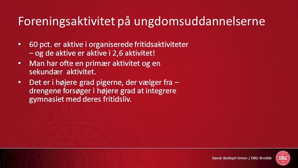 Dansk Boldspil-Union / DBU Bredde Foreningsaktivitet på ungdomsuddannelserne • 60 pct. er aktive i organiserede fritidsaktiviteter – og de aktive er a
